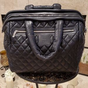 Authentic Cocoon Coco Quilted Chanel Trolley Black